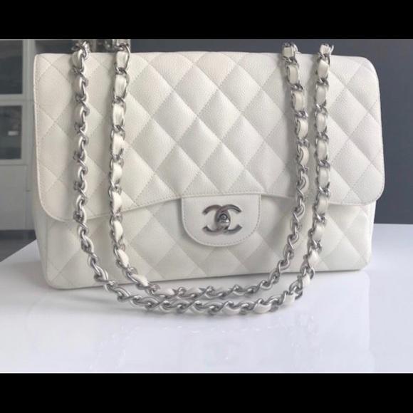 CHANEL Bags   Auth White Caviar Jumbo Single Flap   Poshmark b382af655c